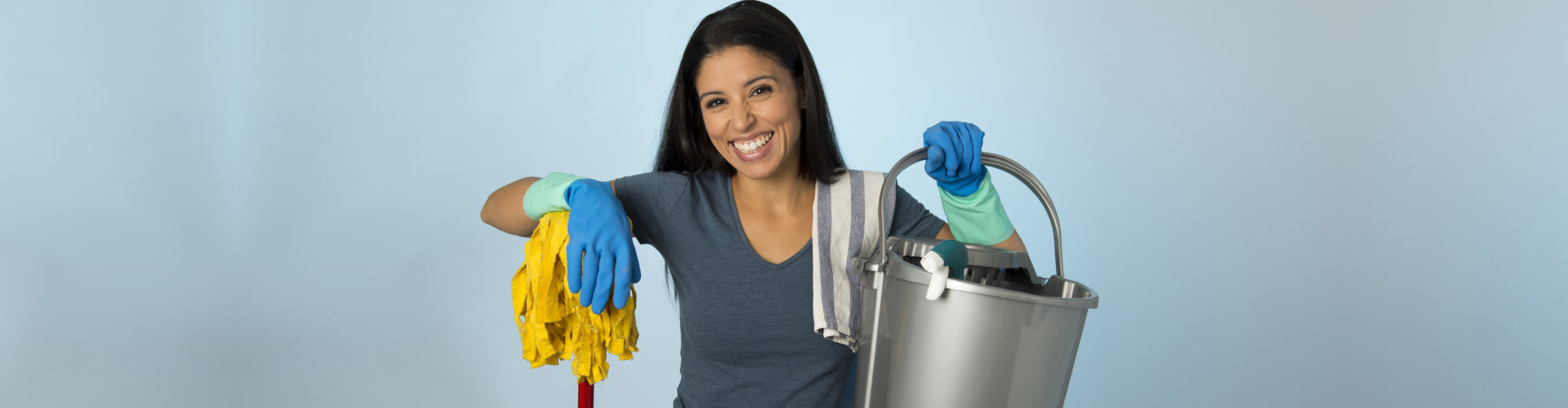 a lady janitor smiling